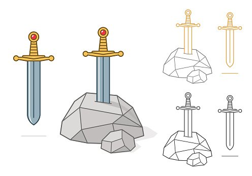 Excalibur theme sword and stone Clipart Image.