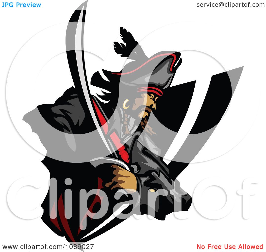 Clipart Pirate And Sword Badge.