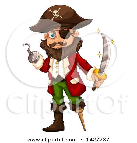 Clipart Illustration of a Male Pirate With Two Teeth, A Hook Hand.