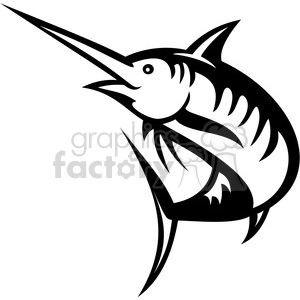 black and white swordfish outline clipart. Royalty.