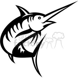 black and white swordfish facing left clipart. Royalty.