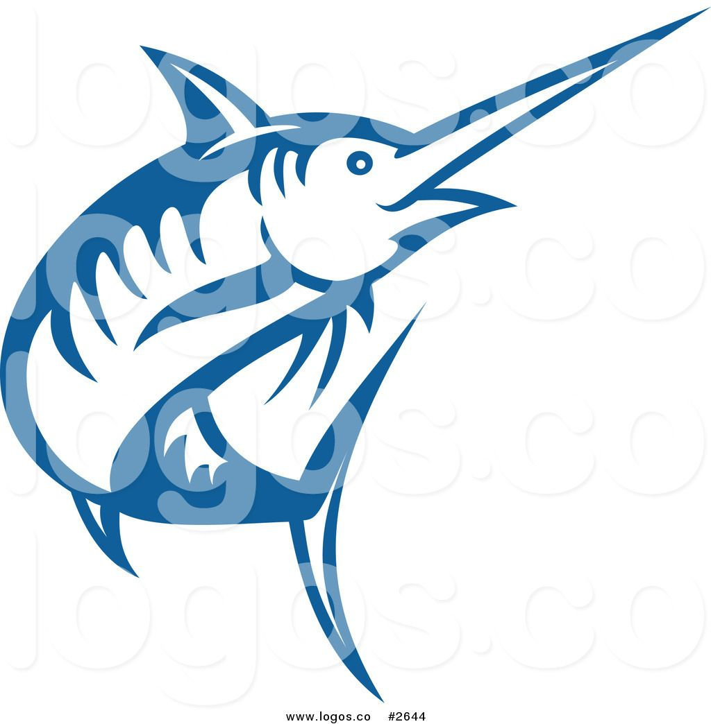 Royalty Free Blue Outline of a Swordfish Logo.