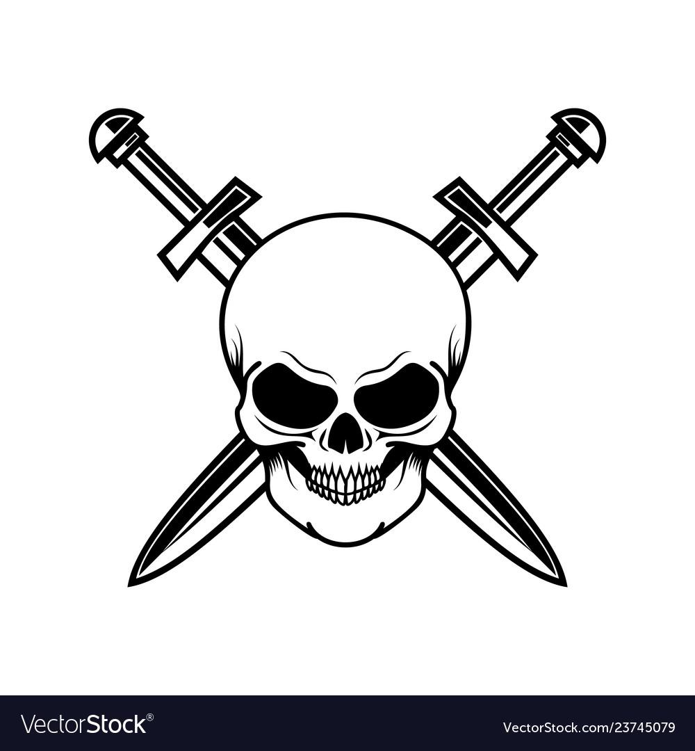 Skull with crossed swords design element for logo.