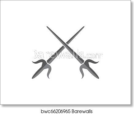 Swords logo template vector icon illustration art print poster.