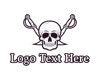 Pirate Skull & Swords Logo.
