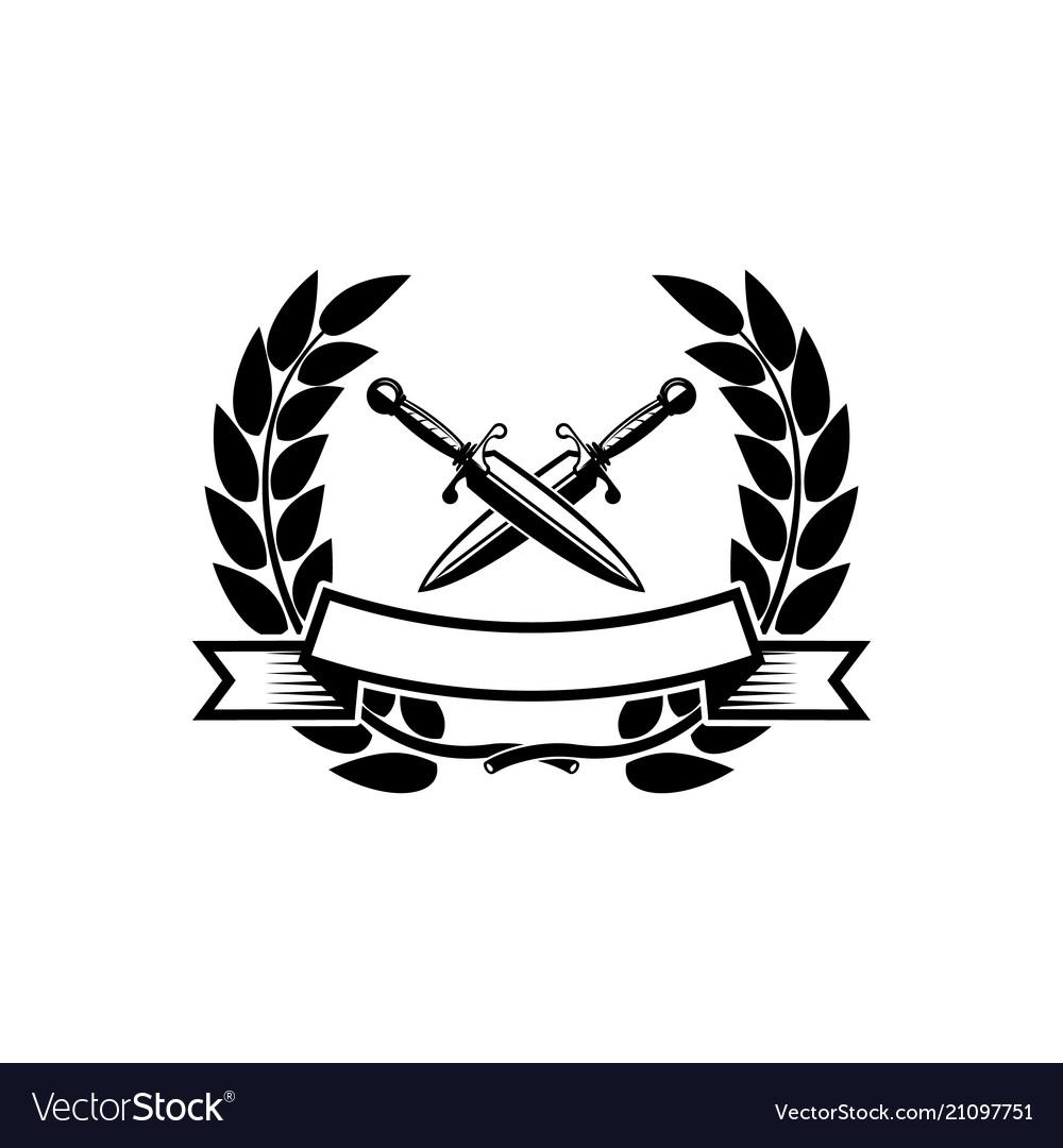 Emblem template with crossed swords design.