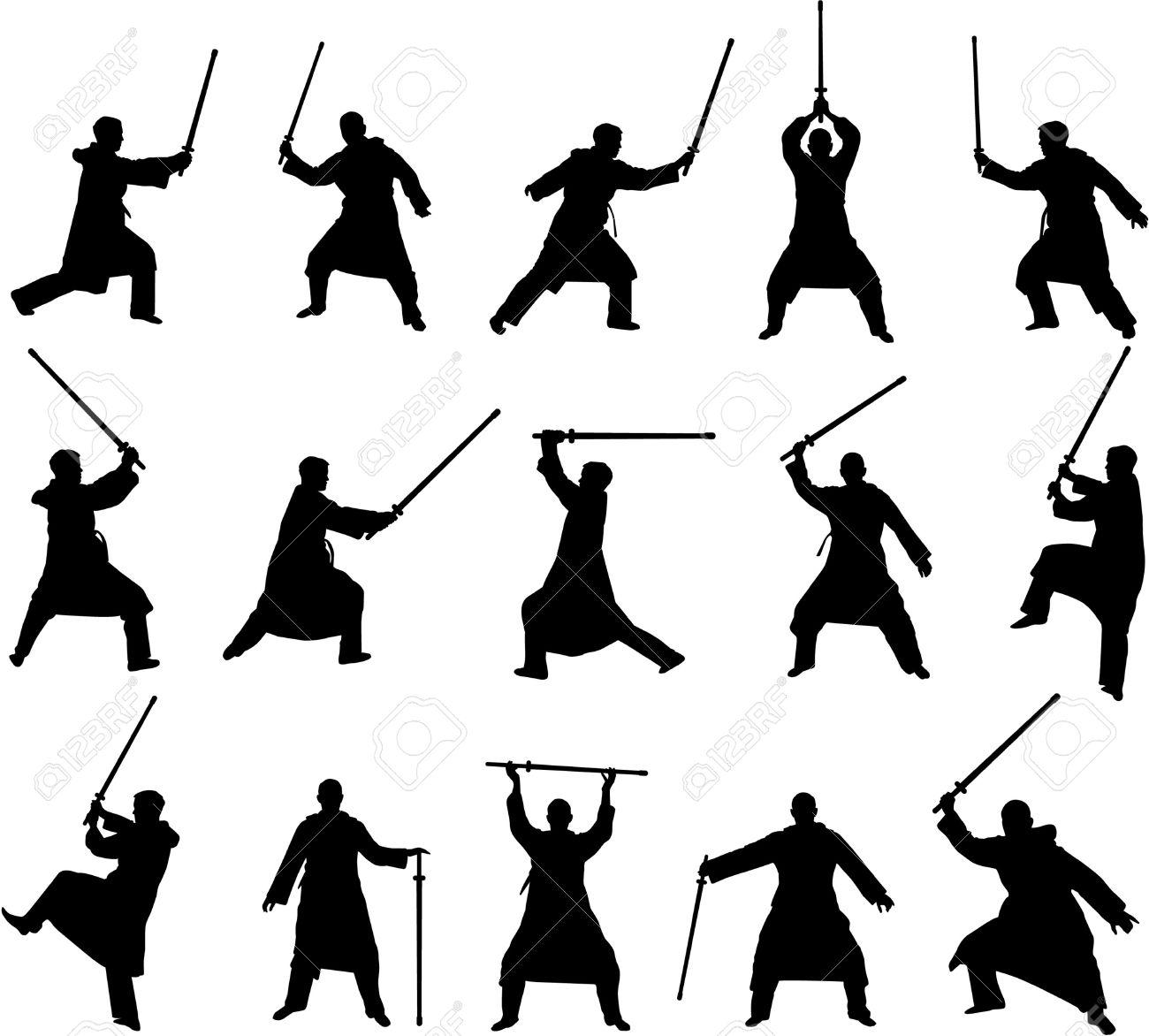 Swordsman silhouette clipart.