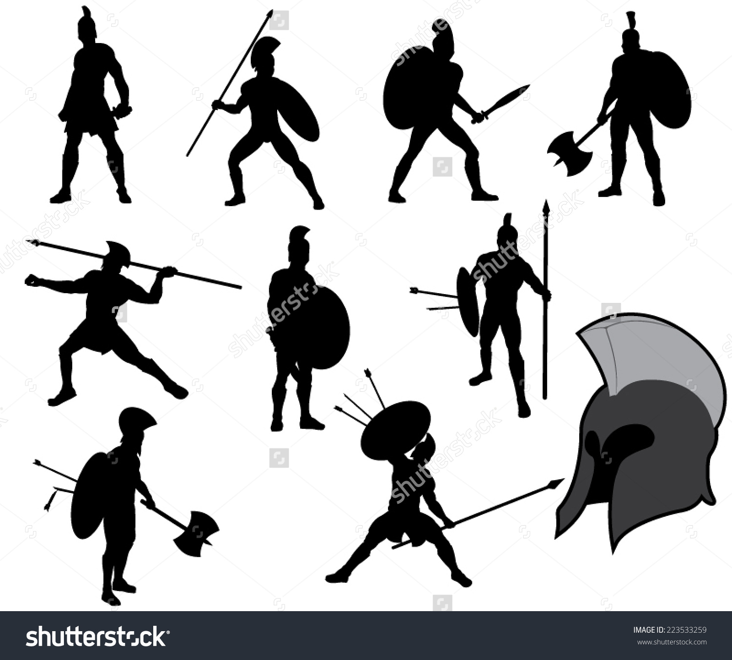 Set Ancient Greek Warriors Silhouettes Vector Stock Vector.