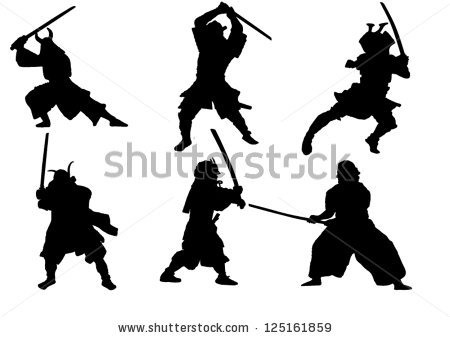 Set Samurai Warrior Vector Silhouette Stock Vector 125161859.