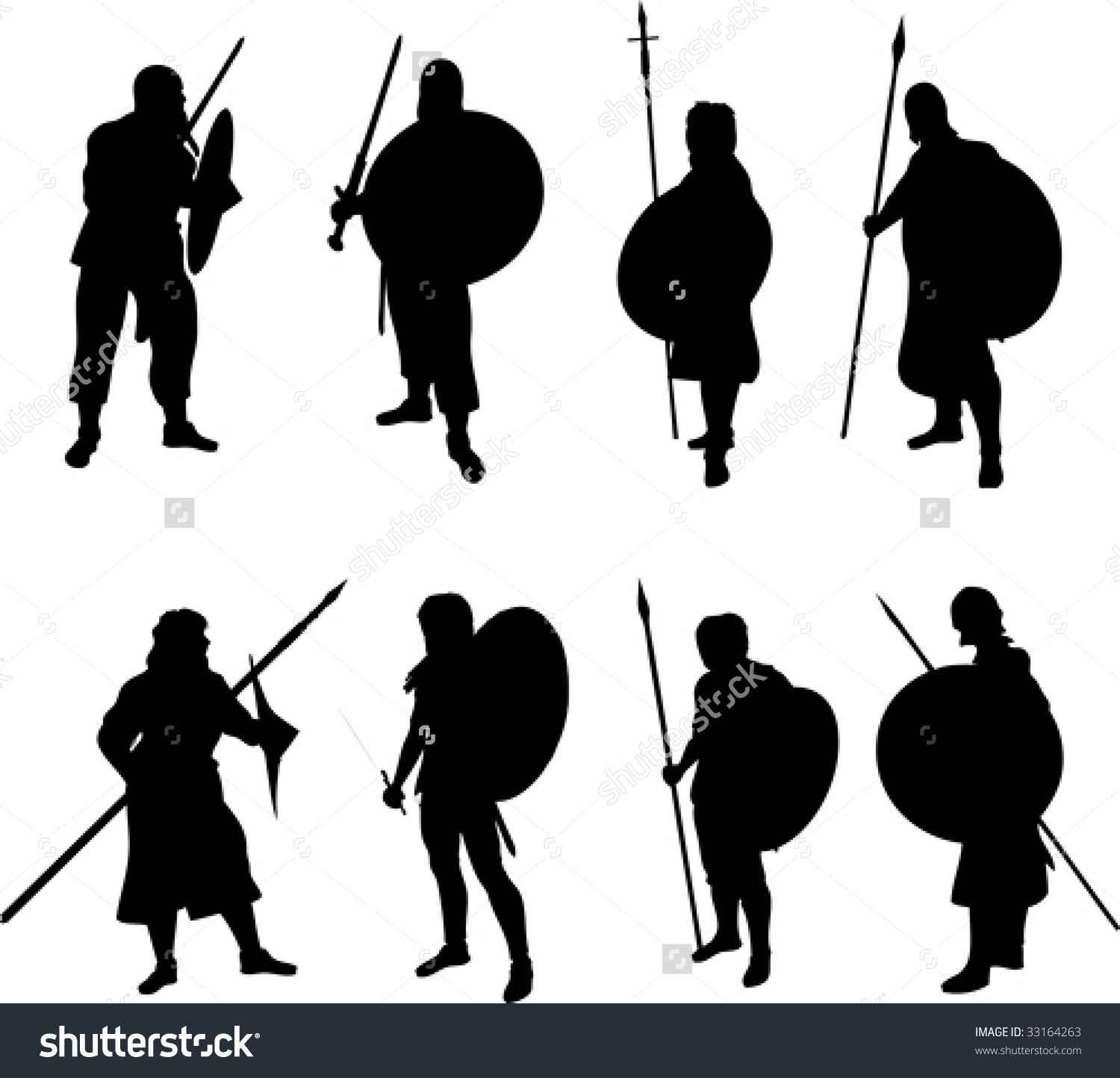 Warrior Silhouettes Stock Vector 33164263.
