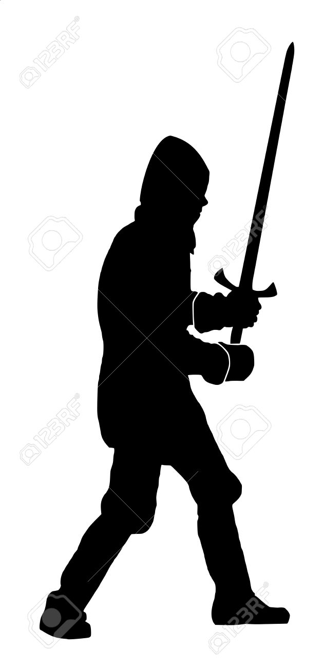 Silhouette Of A Knight On White Background Royalty Free Cliparts.