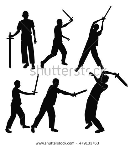 Swordsman Silhouette Stock Images, Royalty.