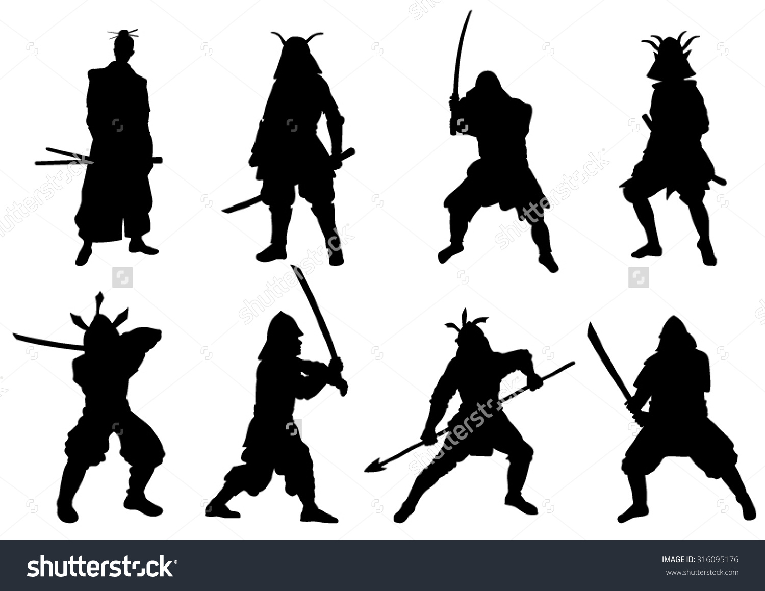 Set Samurai Warriors Silhouette Vector Image Stock Vector.