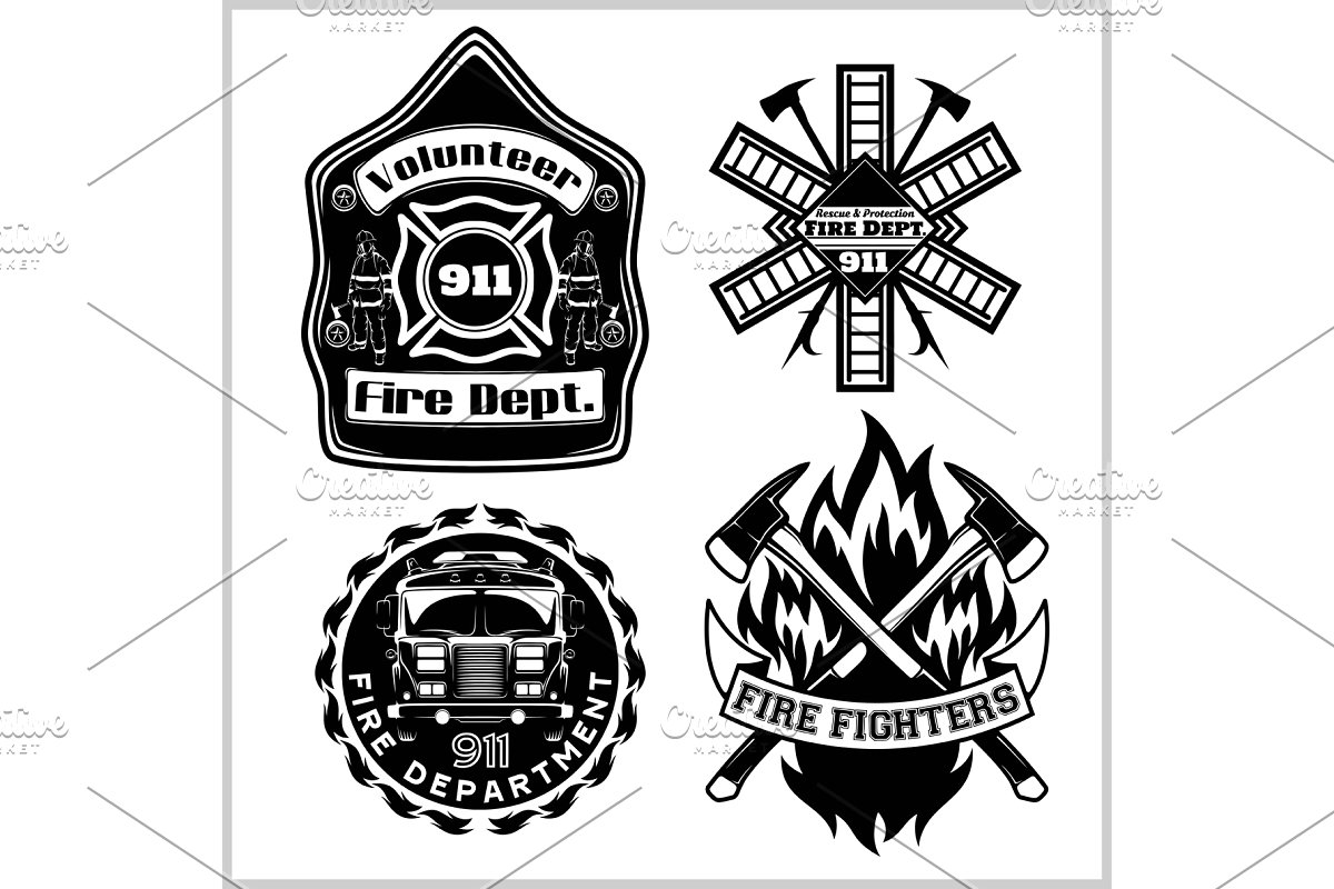 Firemans vector set.