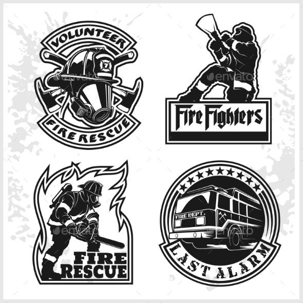 Fireman Vector Set.