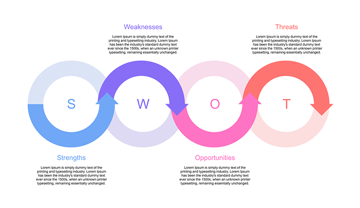 Creative SWOT Diagram for PowerPoint.