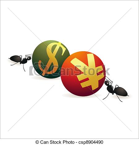 Vector Clipart of Two ants pushing Dollar and Yuan symbols against.