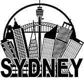 Clip Art of Sydney Australia Skyline Landmarks k9691889.