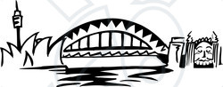 Clipart Illustration of The Arched Sydney Harbour Bridge.