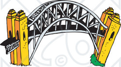 Clipart Illustration of The Arched Harbour Bridge In Sydney.
