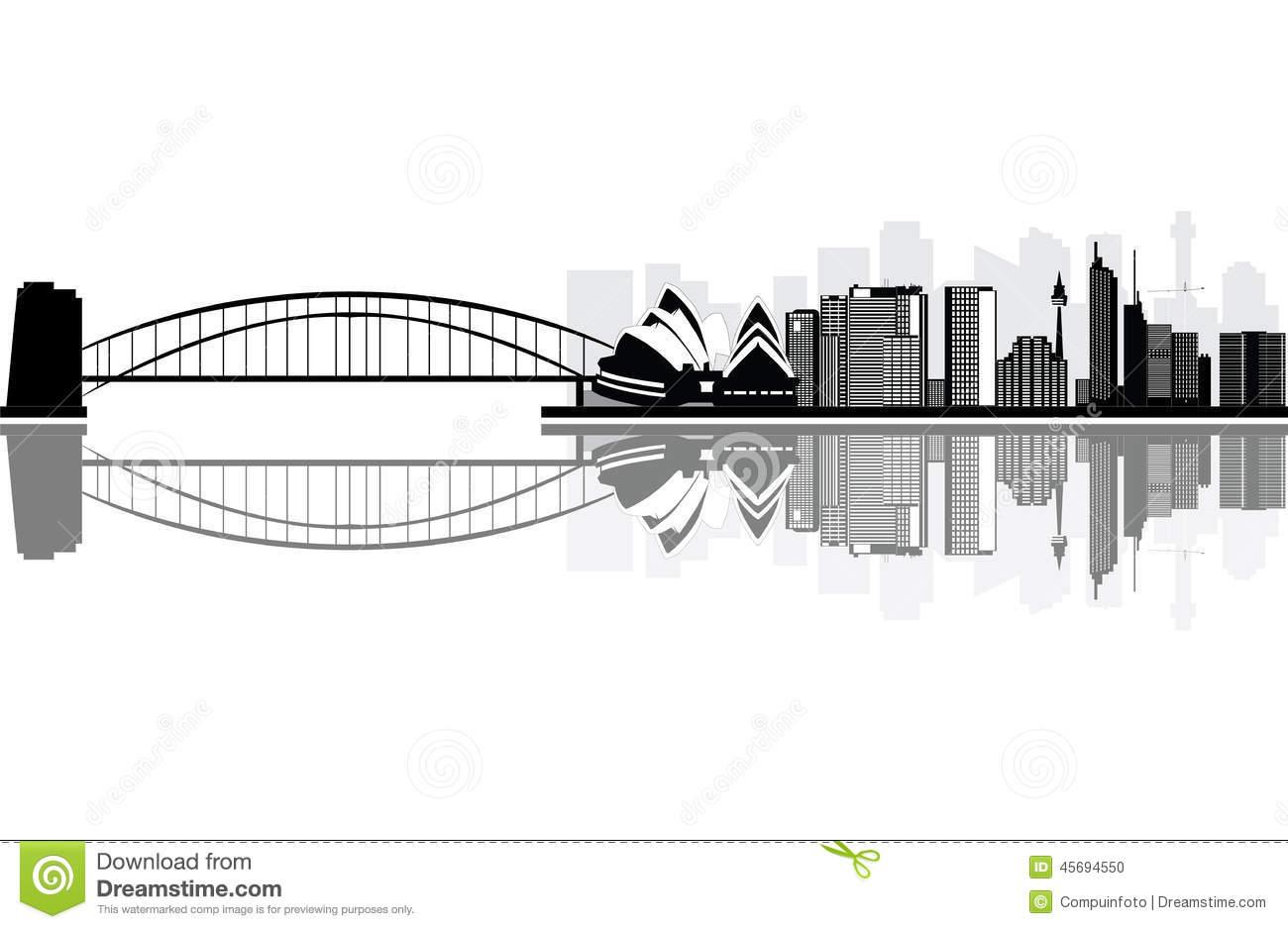 Sydney Skyline Stock Vector.