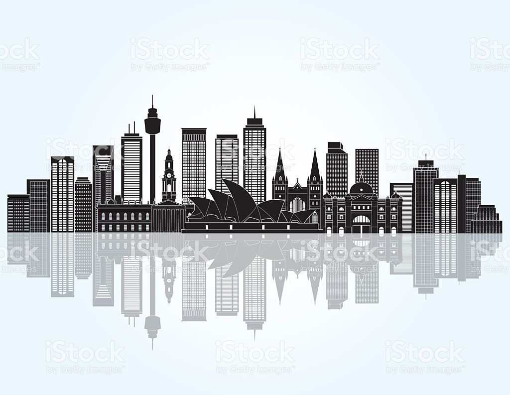 Sydney City Skyline Detailed Silhouette Vector Illustration stock.