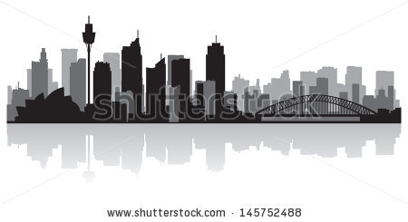 Sydney Australia City Skyline Silhouette Vector Stock Vector.