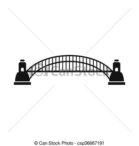 Clipart of Sydney Harbour Bridge icon, cartoon style.
