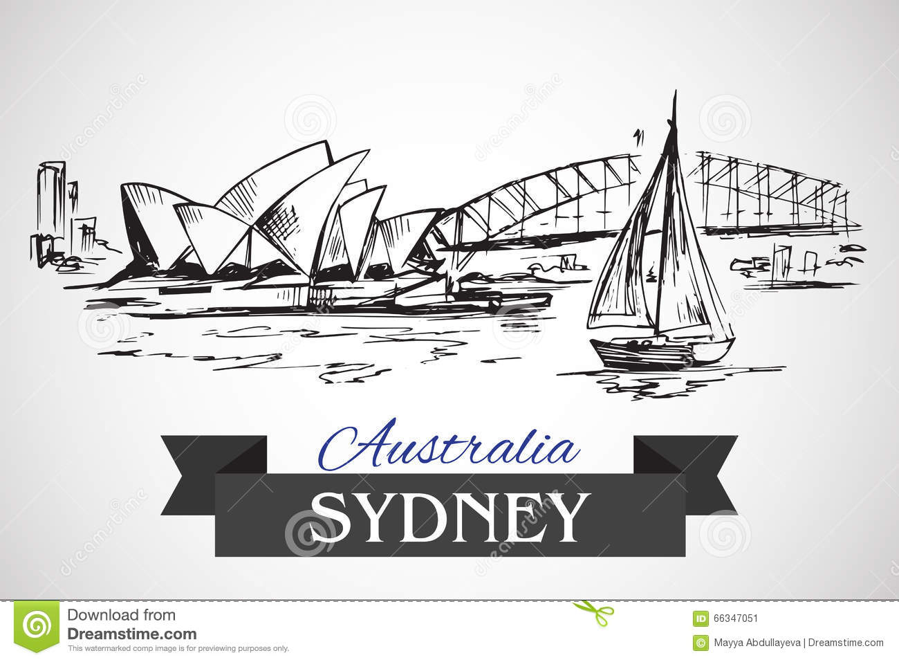 Hand Drawn Sydney Opera House And Sydney Harbour Bridge Editorial.