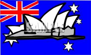 Australian Flag and the Sydney Opera House.