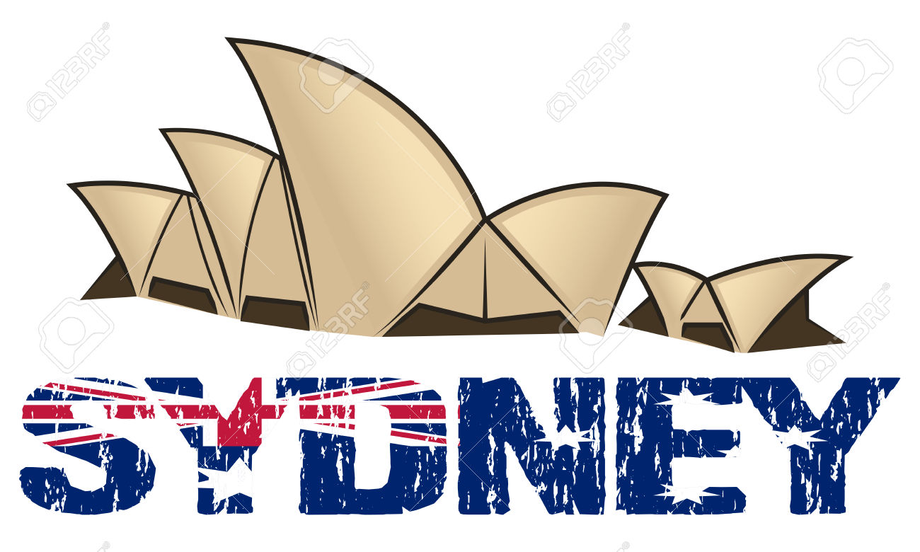 Sydney Opera House Over And Text With Australian Flag Royalty Free.