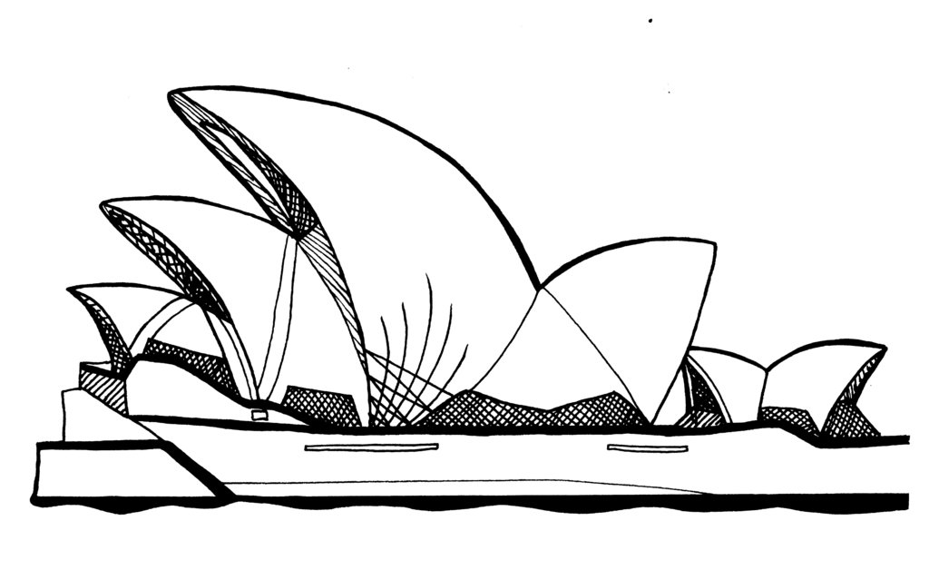Sydney opera house clipart black and white.
