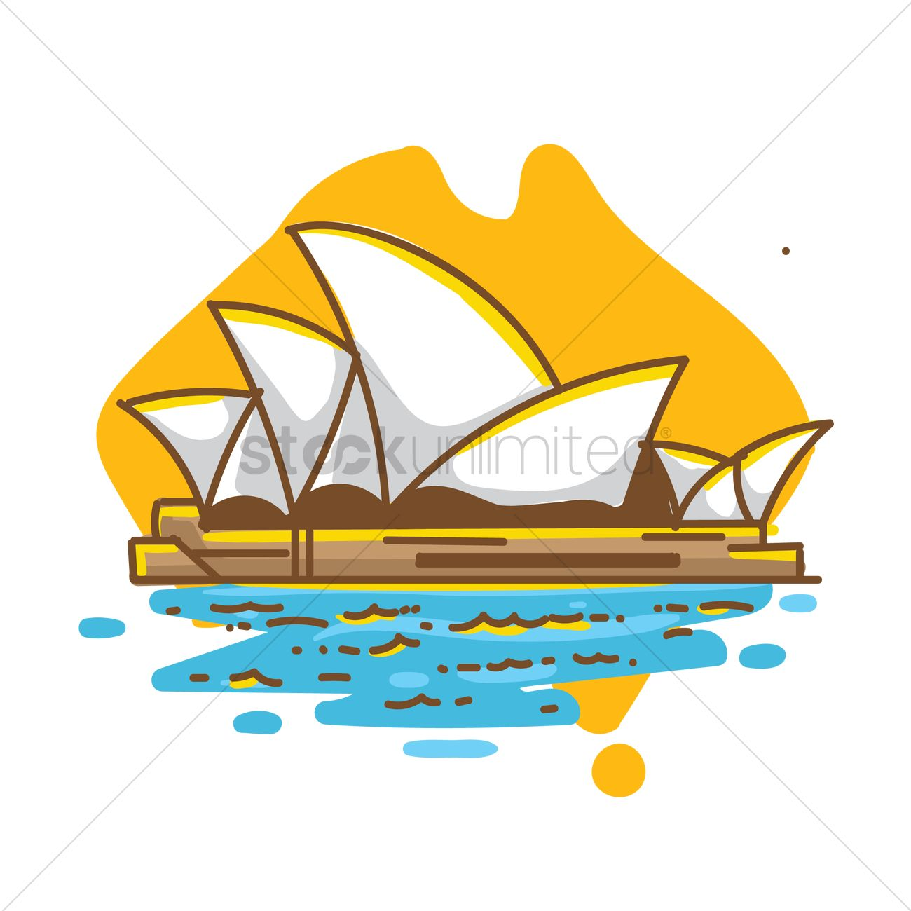Sydney opera house on australia map Vector Image.