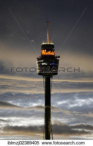 "Stock Image of ""Sydney Tower, AMP television tower with Westfield."