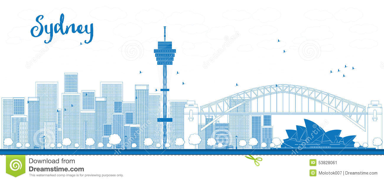 Outline Sydney City Skyline With Skyscrapers. Stock Vector.