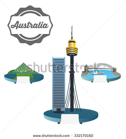 Harbour Bridge Australia Sydney Tower Pyramid Stock Vector.