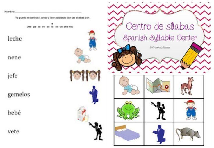 Spanish Syllables Reading Center / Centro de sílabas.