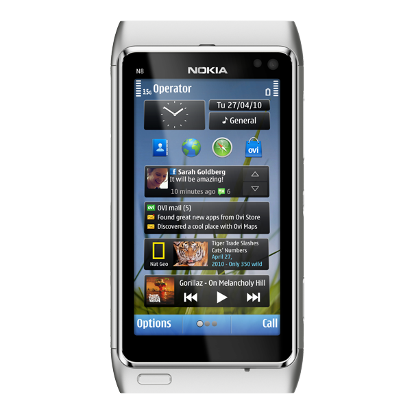 Nokia N Front Silver X.