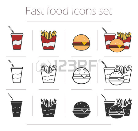 Fast Food Vector Icons Set. Color, Linear And Silhouette.