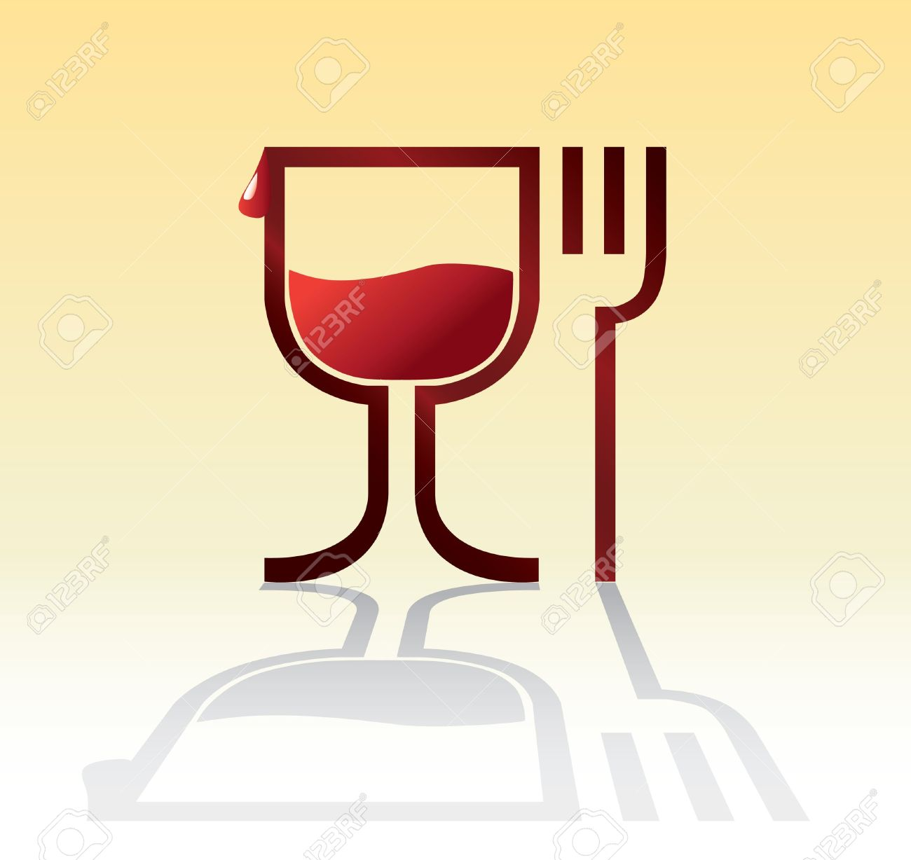 Eat Drink Symbol With Wine.
