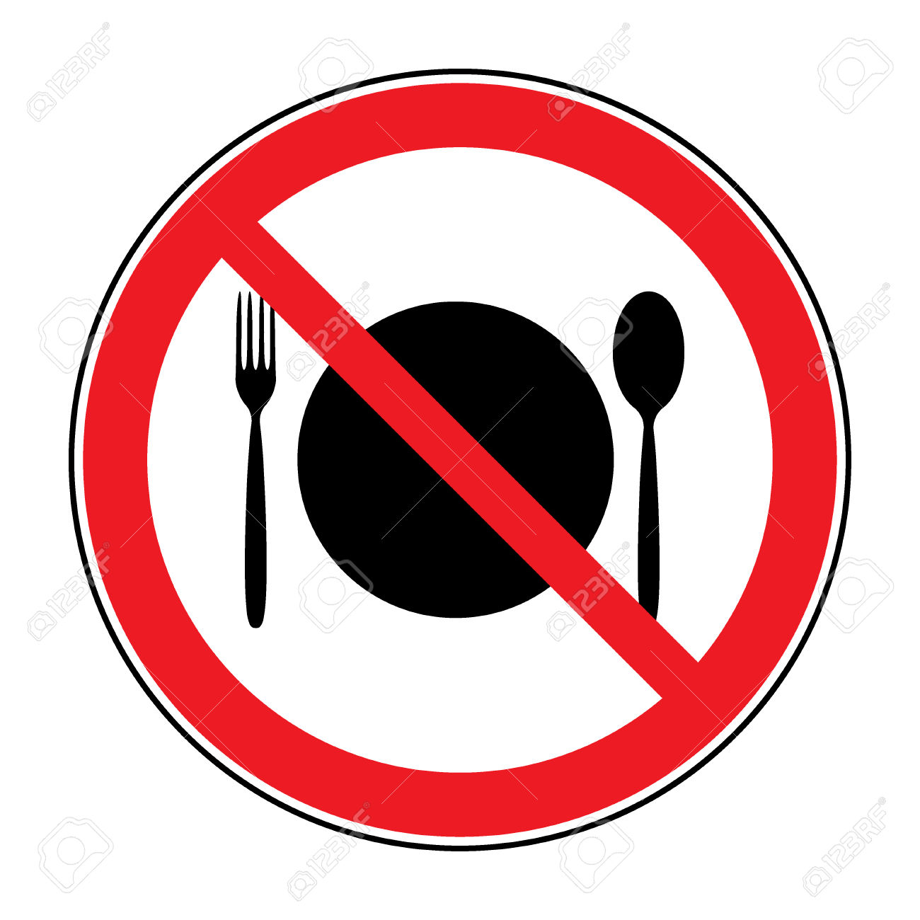 Do Not Eat Icon. Cutlery Symbol. Knife And Fork. No Food Symbol.