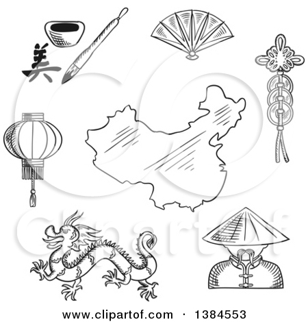 Clipart of a Black and White Sketched Chinese Dragon and Mandarin.