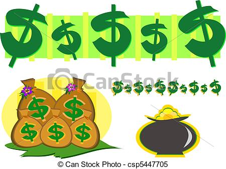 Clipart Vector of Mix of Money and Gold Wealth Symbol.