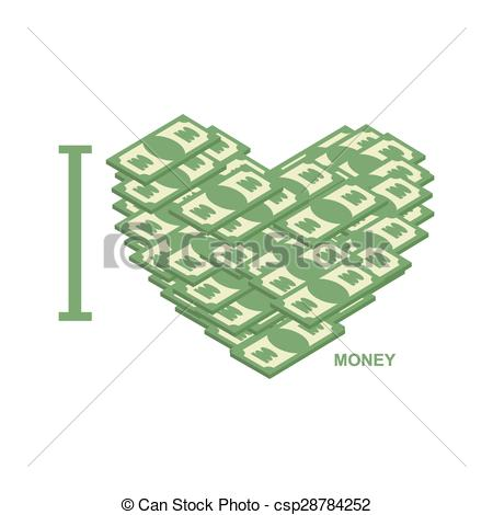 Clipart Vector of I love money. Symbol of heart of dollars.