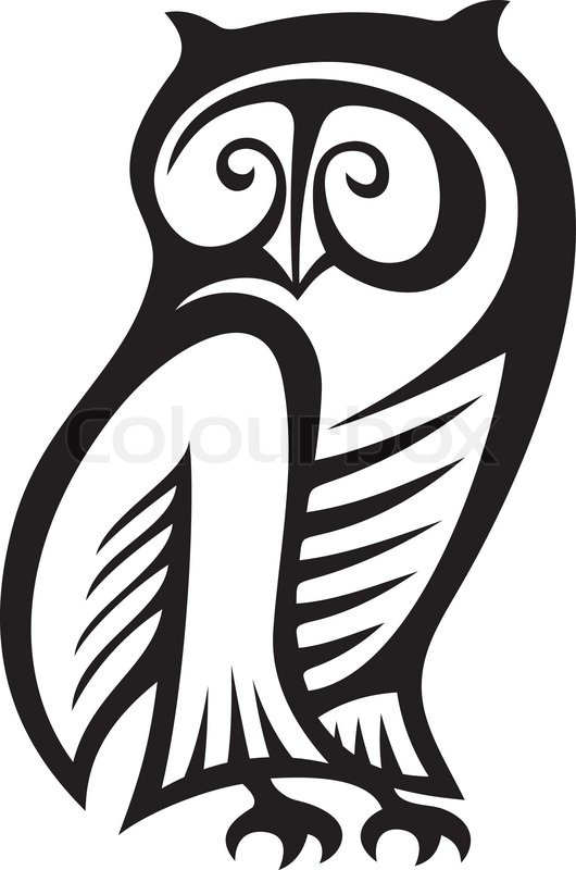 Black and white owl symbol of wisdom and wealth..