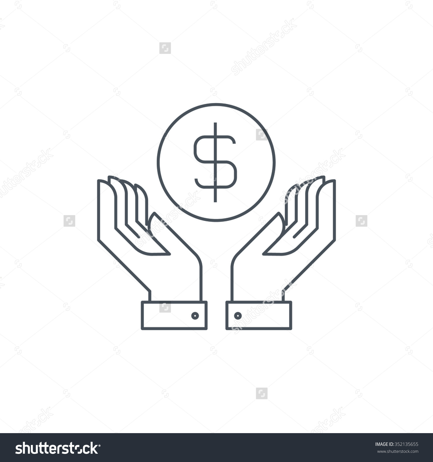 Wealth Salary Icon Suitable Info Graphics Stock Vector 352135655.