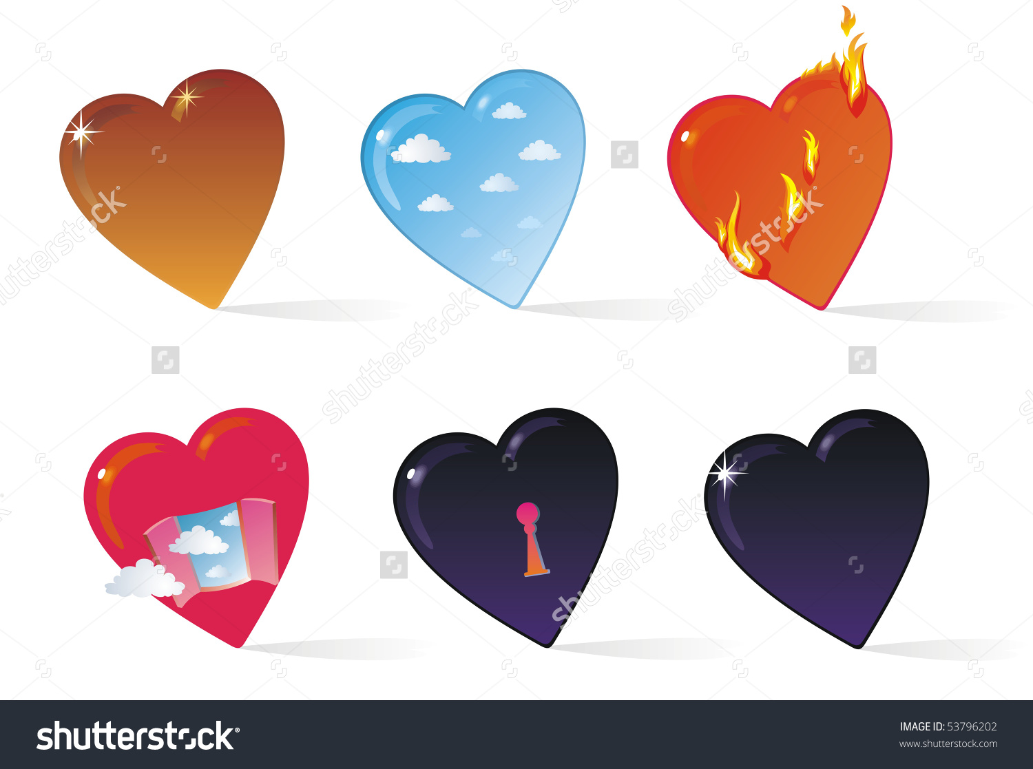 Heart Collection Clipart Six Symbolic Hearts Stock Illustration.