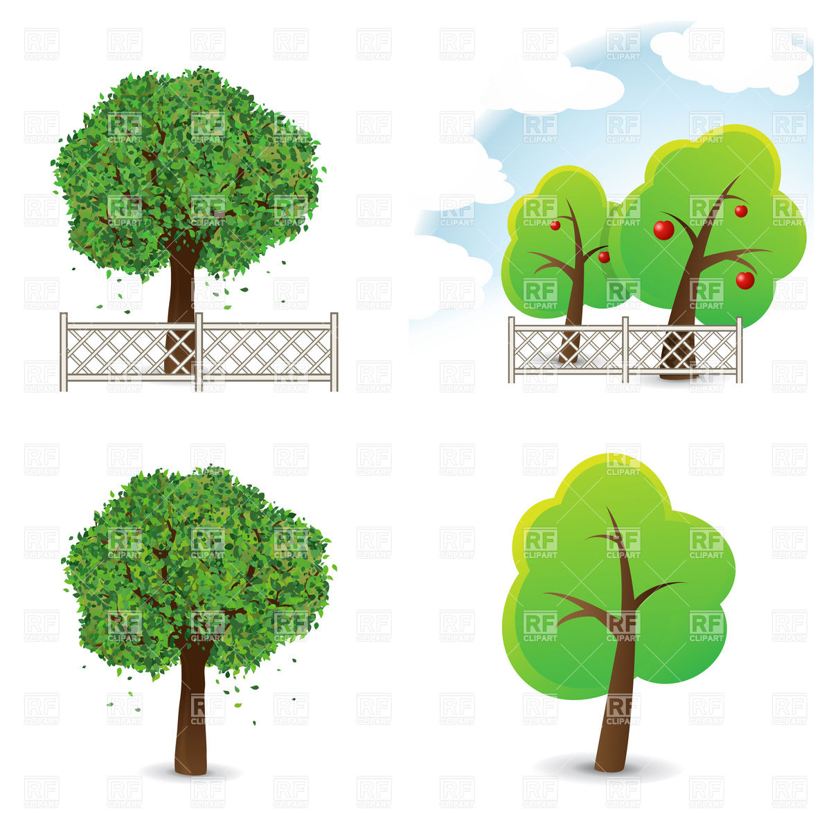 Garden and symbolic trees with fence Vector Image #6014.