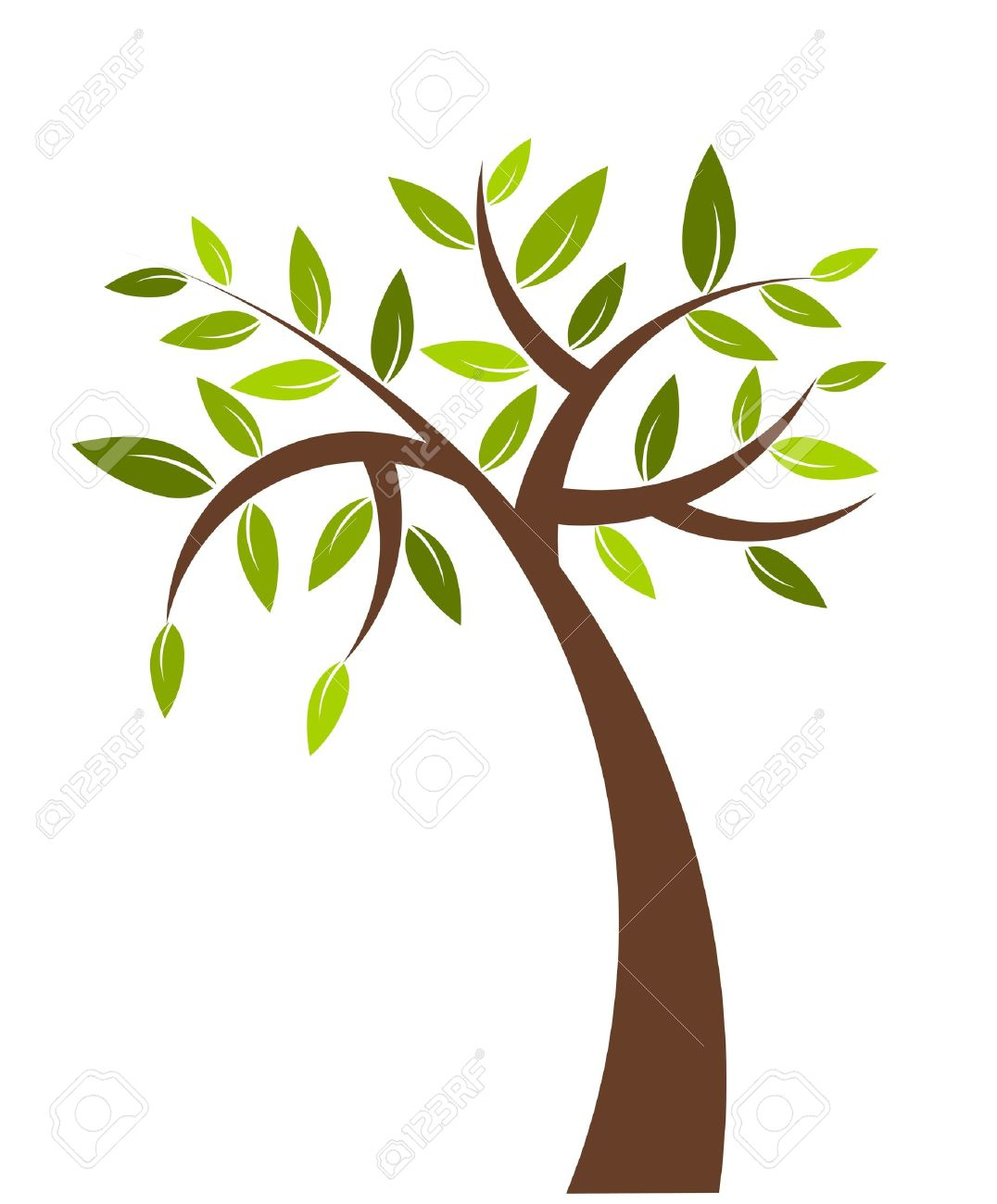 Symbolic Tree With Green Leaves.