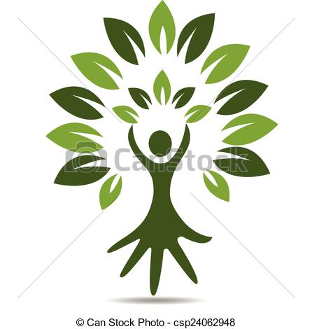 EPS Vector of Tree people hand symbol logo.